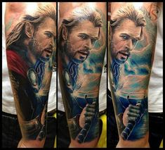 Getting a tattoo, is never a Thor subject. - Marvel Tattoos That'll Make You Want to Be a Superhero - Photos