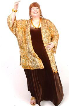 Plus Size Dressy Kimono Jacket Goldfish Silk Print Gold Silver Ivory 14 – 32 Formal Dresses With Sleeves, Plus Size Formal Dresses, Plus Size Outfits, Curvy Fashion, Unique Fashion, Plus Size Fashion, Kimono Jacket, Jacket Dress, Day To Night Outfits
