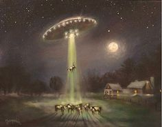 UFO Alien Abduction by Tom Shropshire Acrylic ~ 16 x 20