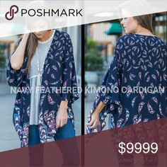 🆕NAVY FEATHERED KIMONO CARDIGAN Boho chic Navy Feather Print kimono style cardigan. 100% Polyester. Slits on sides. Flared 3/4 sleeves. It's my absolute favorite! Fits TTS.   Fabric Content: 100% Polyester   ☞OATMEAL TANK ALSO AVAILABLE  ☞Sizes available: S M l ☞MODELING SIZE MEDIUM   🍃I.G: JMAYORGA91  ❌PRICE FIRM❌ Sweaters Cardigans