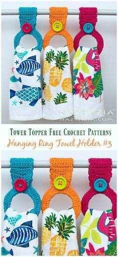 Crochet Dishcloth Hanging Ring Towel Holder Crochet Free Pattern - Topper Free P. Crochet Towel Holders, Crochet Dish Towels, Crochet Towel Topper, Crochet Kitchen Towels, Crochet Dishcloths, Tunisian Crochet, Crochet Gifts, Free Crochet, Simple Crochet