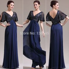 Find More Prom Dresses Information about L780 New Elegant Navy Blue Prom Dress Short Sleeve V neck Sequins Chiffon Floor Length Blackless Party Dress Formal Gowns,High Quality dress sweater,China dress pull Suppliers, Cheap dresses mail from  CuteBridal Wedding & Prom Dress Co.,Ltd  on Aliexpress.com