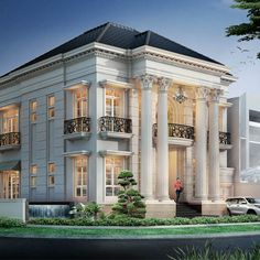 most popular modern dream house design ideas 42 Classic House Exterior, Classic House Design, Dream House Exterior, Dream Home Design, Modern House Design, Villa Design, Facade Design, Architecture Design, Style At Home