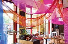 Light colourful organza like this would be the ideal fabric for maypole / gazebo chill space