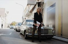 Street style shoot in tuxedo dress with vintage Mercedes