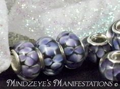 10 Silver Plated Floral Murano Glass Euro by MindzManifestations, $10.00