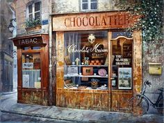 Home art, shop fronts и chocolate shop. Images Victoriennes, Chocolate Shop, Shop Fronts, Shop Window Displays, Urban Sketching, Shop Interior Design, Architecture, Vintage Shops, Retro