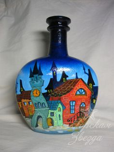 Discussion on LiveInternet - Russian Service Online… Painted Glass Bottles, Glass Bottle Crafts, Wine Bottle Art, Diy Bottle, Bottle Vase, Bottles And Jars, Decorated Bottles, Decoupage Glass, Decoupage Tutorial