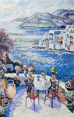 A marble mosaic mural amazingly detailed showing two red chairs and a coffee table with breakfast served on it. On the same terrace we see a beige jar and the left of the table and a lot of flower vases surrounding the table. The view form the terrace it breathtaking and describes the blue sea a small part of the village and at last the big grey mountains.Very beautiful natural scene that makes you want to escape your worries! It is ideal on any room wall for indoor decoration and outdoor.