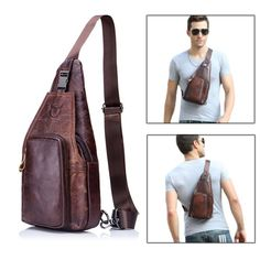 Sale 20% (39.99$) - Bullcaptain® Men Leather Chest Bag Vintage Travel Fashion Crossbody Shoulder Bag