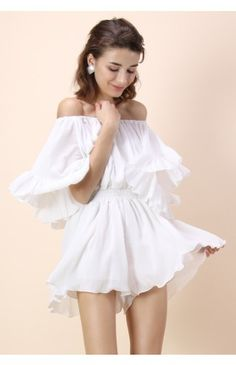 Frill Like Dancing Off-shoulder Playsuit in White - Ruffle - Dress - Retro, Indie and Unique Fashion