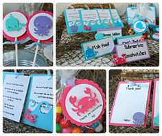 Under the Sea Birthday Pink Party Favor Tags. $9.00, via Etsy.