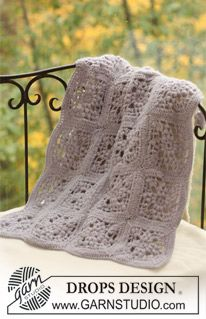 """Sweet Lavender - DROPS crochet blanket in 2 threads """"Alpaca"""". - Free pattern by DROPS Design"""