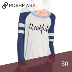 """Just Arrived! """"Thankful"""" Long Sleeve Top This is a great casual long sleeve top. The neck is cutout a bit for a grungy vintage look. Perfect with leggings or jeans for fall!           Price is firm on boutique items unless bundled. brookesstyle Tops Tees - Long Sleeve"""