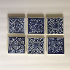Blue and White Ceramic Tile Coasters Set of 6 foam back by MyVintageApartment on Etsy Hamptons Style Decor, White Coasters, Vintage Tile, Coaster Set, Vintage Home Decor, White Ceramics, Decorative Boxes, Blue And White, Antiques
