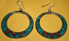 Nepalese Tibetan Handmade coral earring Turquoise by goldenlines