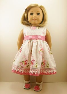 Fits American Girl and 18 Inch Dolls Clothes Sweet Roses and Dots Sleeveless…