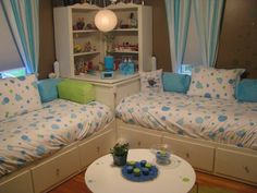 Tween bedroom, I created this space for my 11 and 12 year old daughters. It is a 12x12 room that had to function as a bedroom,dressing room, and a hang out space for their friends when they came over. I asked them what colors they wanted (Brown, Green, and Blue) and what feel they wanted, one wanted it to feel like a spa the other wanted it to be a little more sophisticated. This is what I came up with., Girls Rooms Design