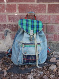 I totally had this bag when I was a kid!...Vintage Denim Jean Drawstring Bucket Backpack Bag by ToatsMcgoats