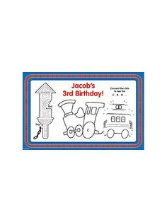Train Party Personalized Activity Mats