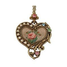 Michal Negrin Heart Pendant Beautifully Designed with Roses Bouquet... (€89) ❤ liked on Polyvore featuring jewelry, pendants, michal negrin jewelry, swarovski crystal pendant, vintage style jewelry, heart shaped pendant and rose pendant
