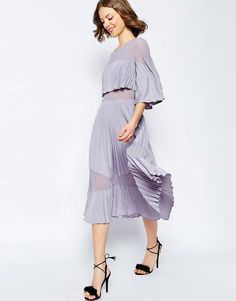 ASOS | ASOS Pleated Sheer And Solid Crop Top Midi Dress at ASOS