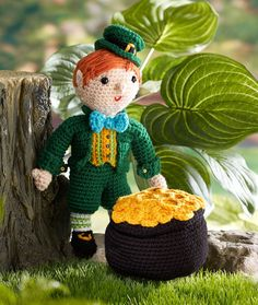 Kitrick the Leprechaun - This lucky little leprechaun has actually found his pot o' gold! Crochet him to add to the festive spirit of St. Patrick's Day.