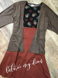 LuLaRoe Fall Outfit, LuLaRoe Elegant Lindsay, Azure Skirt & Irma Tee Burnt Orange