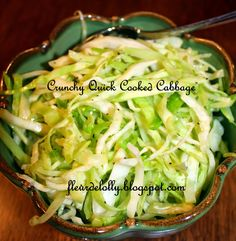 Fleur de Lolly: Crunchy Quick Cooked Cabbage.  I served this with pub-styled fish and chips.  It's a great alternative to oil or mayo based cole slaw.
