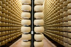 Wheels of Fortune: Scenes From a Parmigiano-Reggiano Factory Cheese Factory, Gold Wheels, White Cheese, Italian Cheese, Italy Food, Parmigiano Reggiano, Wheel Of Fortune, Food Articles, Traditional Kitchen