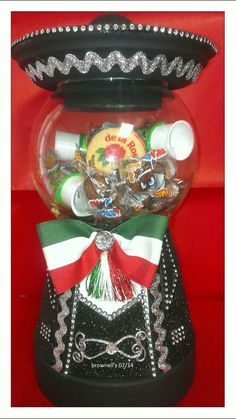Charro candy jar with Mexican candy