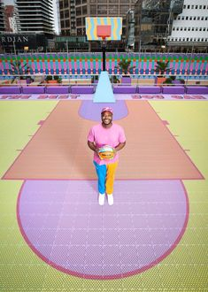 Local designer Yinka Ilori has created vibrant patterns for the first public basketball court in Canary Wharf, London's financial district, which features a 3D-printed floor. Sense Of Life, South London, 3d Prints, World Of Sports, Dark Side, Rainbow Colors, Basketball Court, Typography, Kids Rugs