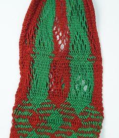 Georgian 18th Century  Sprang Knitted Silk Long Purse Stocking Purse English 1790's
