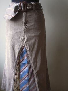 Upcycled Pants into skirt using ties.. BUT i won't use ties,:)