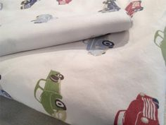 Vintage Trucks Car Cotton PBK Twin Sheet Set Fitted Flat Little Boy Pottery Barn