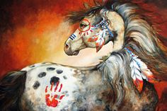 Animals Painting - 4 Feathers Indian War Pony by Marcia Baldwin