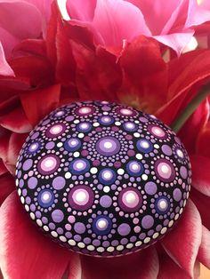 Log in to your Etsy account. Mandala Jewelry, Round Rock, Mandala Rocks, Painted Rocks, Christmas Bulbs, Create Yourself, Meditation, Paintings, Stone