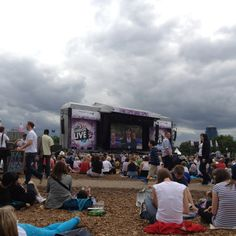 7th August. BT London Live Hyde Park. British Gold watching the Triathlon Medal Ceremony