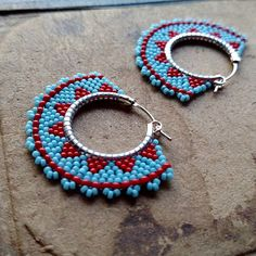 Tribal Hoop Earrings, Beaded Boho Hoops, Blue and Red Earrings, southwest style Bead Jewellery, Seed Bead Jewelry, Seed Bead Earrings, Diy Earrings, Hoop Earrings, Beaded Earrings Native, Beaded Earrings Patterns, Native Beading Patterns, Brick Stitch Earrings