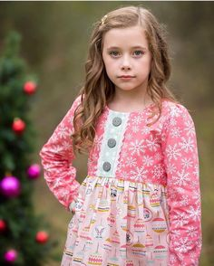 Because of Brenna in Oh What Fun Fabric Hawthorne Threads Newsletter Pattern by Petite Stitchery & Co Christmas Sewing, Christmas Fabric, Christmas Crafts, Christmas Clothes, Dashing Through The Snow, Vintage Holiday, Holiday Dresses, Floral Tops, Grandkids