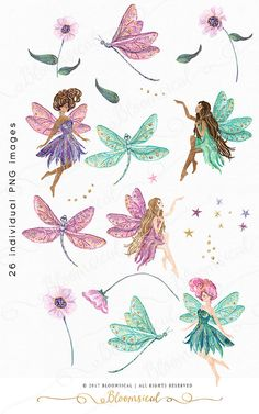 A modern enchanted digital graphics collection featuring garden fairies, delicate shimmering dragonflies, couture flowers with rhinestones, stars and sparkles. The cliparts are hand drawn and painted by me. You will receive 26 individual graphics to crea