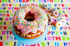 frankie fodder: giant strawberries and cream doughnut cake by  katherine sabbath