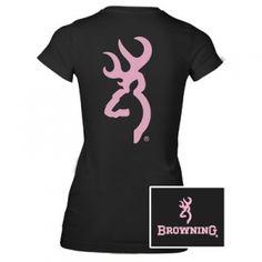 Browning Misses' Custom Buckmark Fitted Tee - Black/Pink - Mills Fleet Farm
