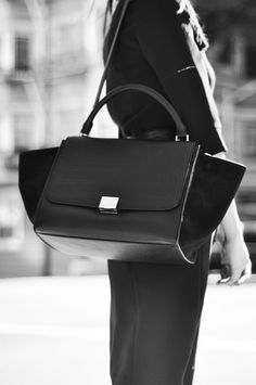Celine Trapeze Leather Croco Handbag in Black  ON SALE