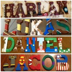 Hand painted wooden letters by: Lianne Berube Themes: Music, Harry Potter, Super Mario, Super Heroes.