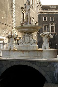 Catania, Piazza Duomo, Fontana dell'Amenano (Amenano fountain)