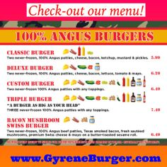 Check our our menu!  www.GyreneBurger.com  865-281-5426  #GyreneBurgerKX  1927 Cumberland Avenue, Knoxville, TN 37916  Call Today For Pickup Or Delivery  Order Online Now ➡️    www.GyreneBurger.com