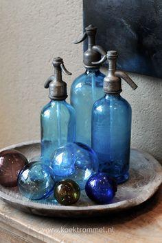 oude sifonflessen - blauw - blue