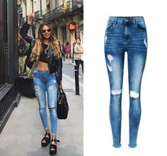 21.74$  Watch now - http://ali5gi.shopchina.info/go.php?t=32786965895 - Jeans woman Of 2017 New bottom tassel  fringe Female Pencil Pants High Waist Hole Ripped Women Jeans Femme Ladies Stretch Pants  #bestbuy