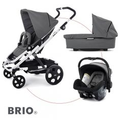 BRIO GO Travelset incl. Pram and Go Carrier - GREY / Chassis Weiss - 2013